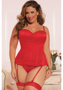 Knock Out Corset W/ Thong-red-3/4x