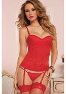 Knock Out Corset W/ Thong-red-m