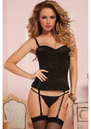 Knock Out Corset W/ Thong-black-l (disc)
